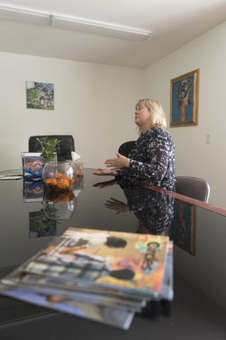 Sally Rothfuss, executive director for Transition Services Inc., interviews at the new Transition Services Inc. facility at 6100 W. Cheyenne Ave. in Las Vegas Wednesday, Nov. 4, 2015. Jason Ogulni ...