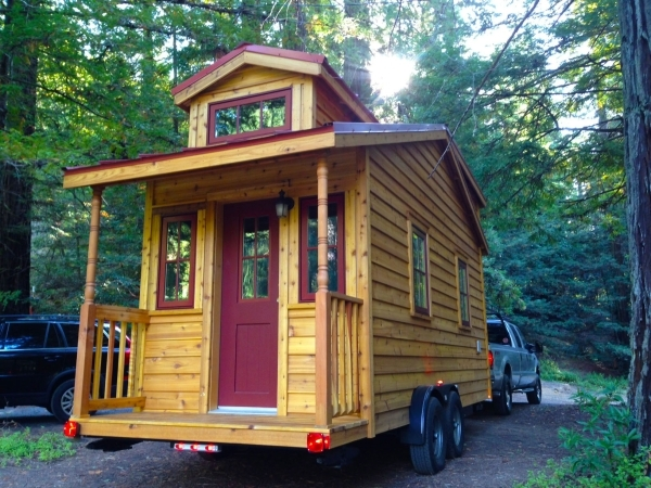 Built on wheels which can be covered when parked, Tumbleweed's Linden model is easy to move and requires no special permit to tow. COURTESY TUMBLEWEED TINY HOUSE CO.