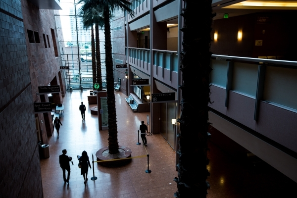 People walk in the lobby of the Regional Justice Center in Las Vegas on Wednesday, Nov. 4, 2015. Chase Stevens/Las Vegas Review-Journal Follow @csstevensphoto