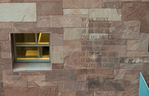 A quote is shown in the lobby of the Regional Justice Center in Las Vegas on Wednesday, Nov. 4, 2015. Chase Stevens/Las Vegas Review-Journal Follow @csstevensphoto