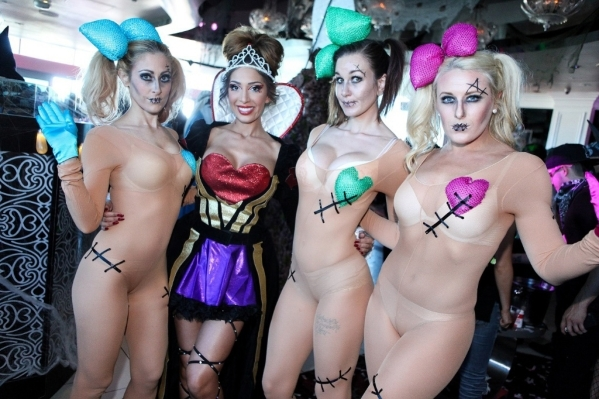 Farrah Abraham poses with Go Go Dancers at Ghostbar Dayclub at a Halloween party Saturday. (Joe Fury)