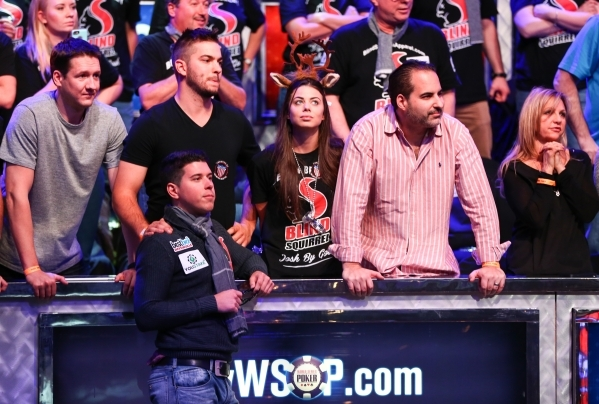 Josh Beckley of Marlton, N.J., watches the action unfold after going all-in against Joe McKeehen of North Wales, Pa., during the last day of the final table of the World Series of Poker Main Event ...