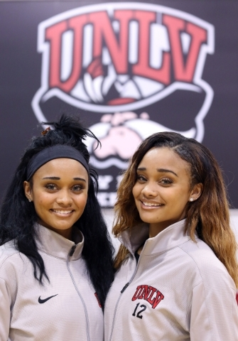 Twin sisters and UNLV Lady RebelsþÄô Dylan, left, and Dakota Gonzalez stand for a photo during a news media event at UNLV Wednesday, Nov. 4, 2015, in Las Vegas. Lady Rebels are slated to  ...