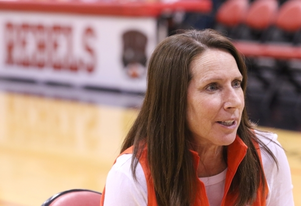 UNLV Lady Rebels head coach Kathy Olivier participates in an interview during a news media event at UNLV Wednesday, Nov. 4, 2015, in Las Vegas. Lady Rebels are slated to play their first game of t ...