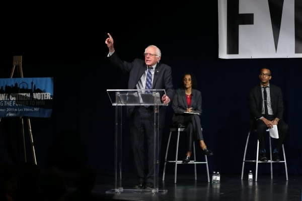 Democratic presidential candidate U.S. Sen. Bernie Sanders, I-Vermont, speaks during an immigration forum hosted by the Fair Immigration Reform Movement at The LINQ casino-hotel in Las Vegas Monda ...