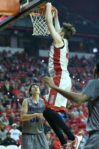 UNLV's Stephen Zimmerman Jr. (33) dunks the ball against Whittier in their men's exhibition game at the Thomas and Mack Center in Las Vegas Friday, Nov. 6, 2015. UNLV won 94-57. Erik V ...