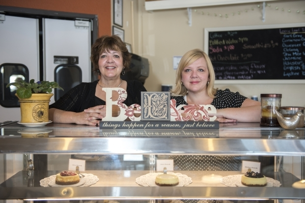 Mother Kathy Heath, left, and her daughter Heidi Bastian, co-owners of the bakery Gotta Love Cheesecake, pose inside their shop at 5081 N. Rainbow Blvd. #100 in Las Vegas on Sunday, May 3, 2015. ( ...