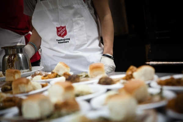 A traditional Thanksgiving meal is seen being served by The Salvation Army Southern Nevada at 35 W. Owens Ave. in North Las Vegas in 2007. In honor of Thanksgiving, The Salvation Army plans a Than ...