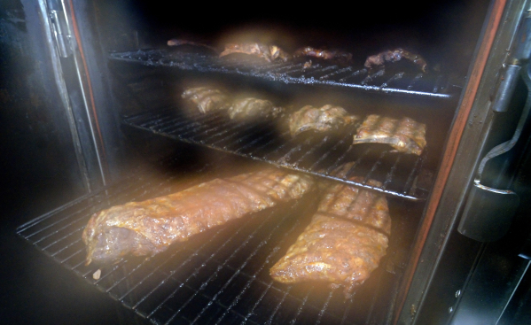Ribs are shown in the smoker at BellþÄôs BBQ at 10895 S. Eastern Ave. in Henderson on Thursday, Nov. 5, 2015. Bill Hughes/Las Vegas Review-Journal
