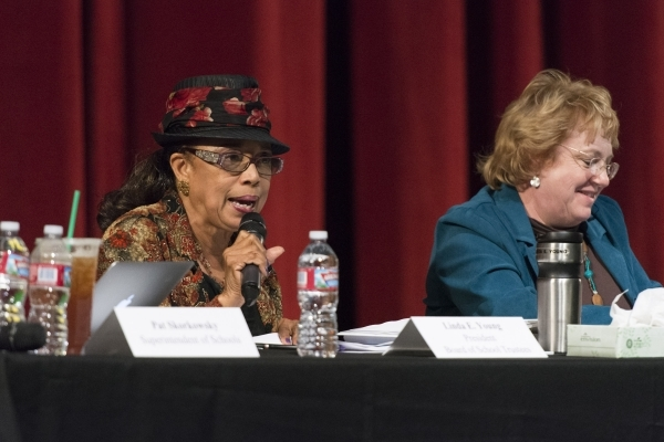 Linda E. Young, president of the Board of School Trustees, left, speaks during a meeting to discuss Clark County School District's proposed changes for its sexual education policy at Las Veg ...