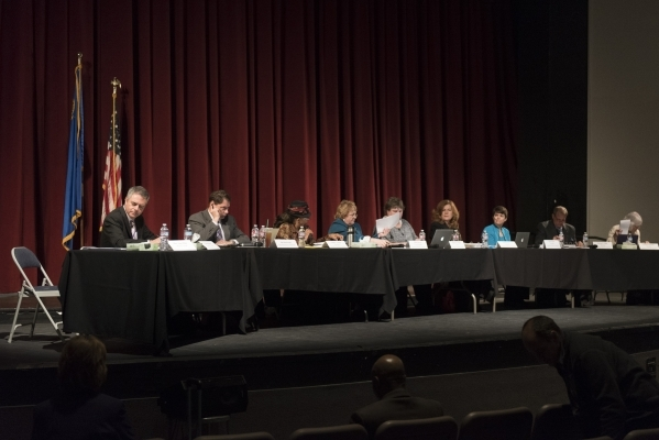 The Board of School Trustees are shown during a meeting to discuss Clark County School District's proposed changes for its sexual education policy at Las Vegas Academy of the Arts in Las Veg ...