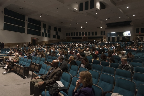 The audience is shown during a meeting to discuss Clark County School District's proposed changes for its sexual education policy at Las Vegas Academy of the Arts in Las Vegas Thursday, Nov. ...