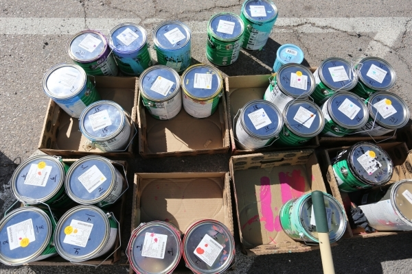 Buckets of paint wait to be used as volunteers pain a mural on the Ukulele Lounge on Friday, Nov, 6, 2015, in Las Vegas. Brett Le Blanc/Las Vegas Review-Journal