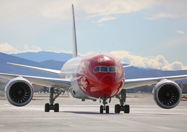 Norwegian Air's first flight from Copenhagen, Denmark, taxis shortly after arriving at McCarran International Airport Terminal 3 Tuesday, Nov. 10, 2015, in Las Vegas. The European carrier wi ...