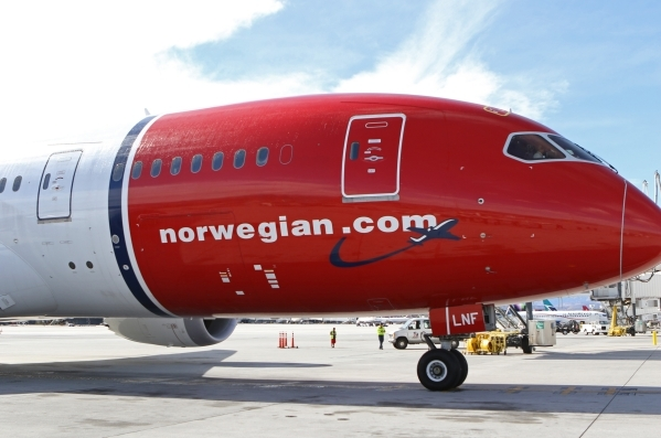 Norwegian Air's first flight from Copenhagen, Denmark, is parked at the gate at McCarran International Airport Terminal 3 Tuesday, Nov. 10, 2015, in Las Vegas. The European carrier will be o ...