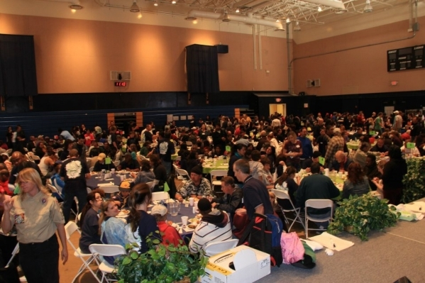 Attendees enjoy a free meal at the 2011 Blessfest at Calvary Chapel Spring Valley. (Special to View)