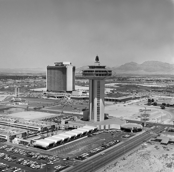 The Landmark Tower hotel, foreground, opened on July 1, 1969. It was imploded in 17 seconds on Nov. 7, 1995. LAS VEGAS NEWS BUREAU