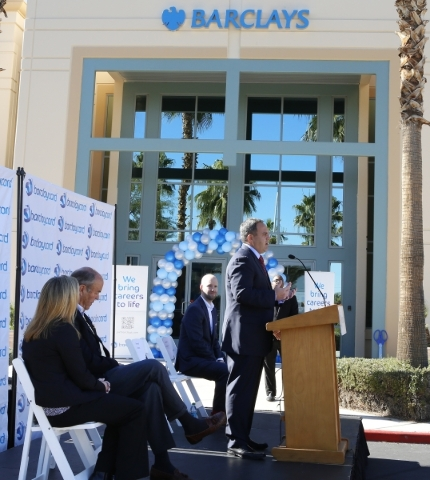 Craig Peters, interim global chief operations and technology officer at Barclaycard, speaks during a special event outside the newly built 35,000-square-foot building at 2290 Corporate Circle on T ...