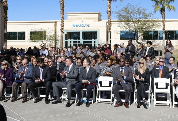 Barclaycard US employees applaud as they attend a special event outside the newly built 35,000-square-foot building at 2290 Corporate Circle on Thursday, Nov. 12, 2015 in Henderson. Bizuayehu Tesf ...