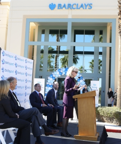 Kristin Mcmillan, president and CEO of the Las Vegas Metro Chamber of Commerce, speaks during a special event outside the newly built 35,000-square-foot building at 2290 Corporate Circle on Thursd ...
