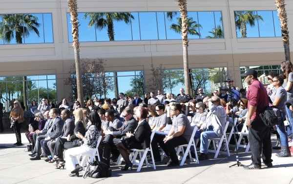 Barclaycard US employees attend a special event outside the newly built 35,000-square-foot building at 2290 Corporate Circle on Thursday, Nov. 12, 2015 in Henderson. Bizuayehu Tesfaye/Las Vegas Re ...