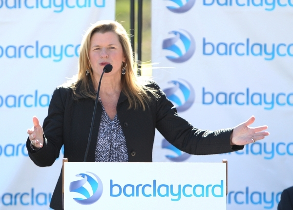 Barbara Coffee, director of economic development for city of Henderson, speaks during a special event outside the newly built 35,000-square-foot building at 2290 Corporate Circle on Thursday, Nov. ...