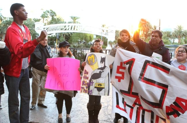 Local fast-food, home care, and child care workers protest outside a McDonald's on the Strip at 3475 Las Vegas Blvd. South Tuesday, Nov. 10, 2015. Bizuayehu Tesfaye/Las Vegas Review-Journal  ...