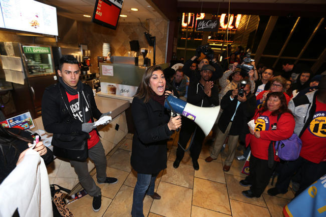 Former Assemblywoman Lucy Flores speaks to demonstrators during a Fight For $15 rally inside McDonald's at The D Las Vegas casino-hotel Tuesday, Nov. 10, 2015 in Las Vegas. Fast food workers ...