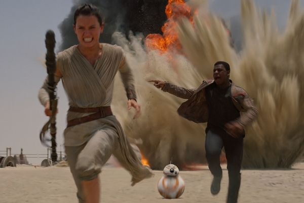 Daisy Ridley and John Boyega appear in a scene from Star Wars: The Force Awakens (Lucasfilm 2015)