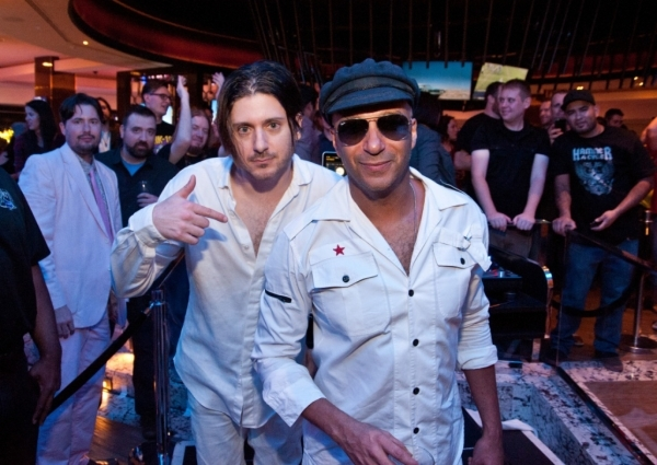 DJ Comandante duo Carl Restivo, left, and Rage Against the Machine guitar god Tom Morello at the Hard Rock Hotel Center Bar in October. (Patrick Gray for Kabik Photo Group)