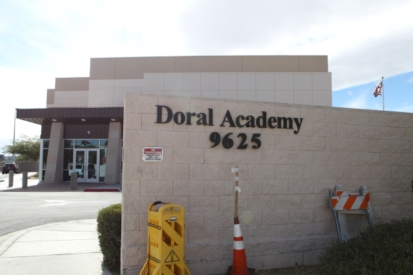 Doral Academy at 9625 Saddle Ave., near Flamingo Road and Fort Apache Road, has been evacuated while fire crews investigate an odor of smoke, officials say. Bizuayehu Tesfaye/Las Vegas Review-Jour ...