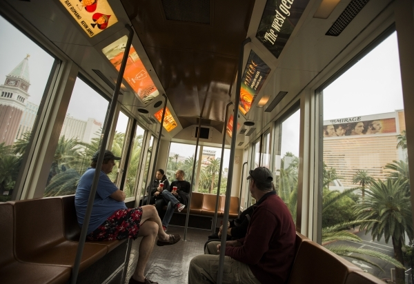 People ride the tram from Treasure Island to The Mirage  on Tuesday, Nov. 10, 2015.Jeff Scheid/ Las Vegas Review-Journal Follow @jlscheid