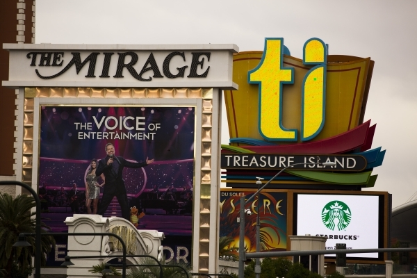 The Mirage and Treasure Island signs is seen  on Tuesday, Nov. 10, 2015.Jeff Scheid/ Las Vegas Review-Journal Follow @jlscheid