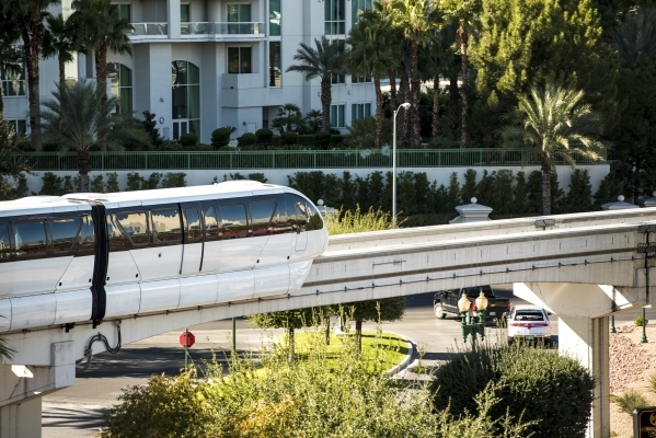 A Las Vegas Monorail train leaves the station at the Westgate hotel-casino in Las Vegas on Friday, Nov. 13, 2015. Joshua Dahl/Las Vegas Review-Journal
