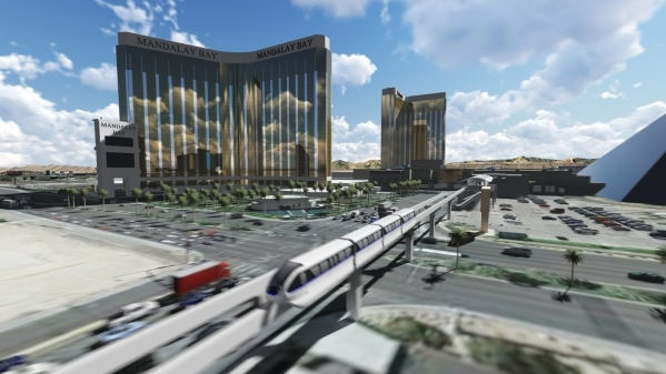 Las Vegas Monorail officials call the No. 1 expansion priority extending the line south from the existing MGM Grand terminus to Mandalay Bay. (Courtesy)