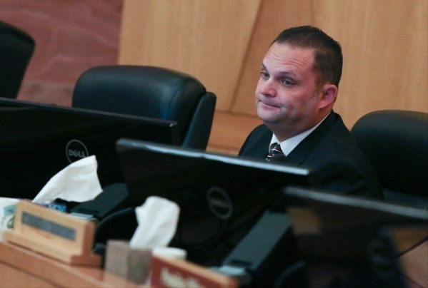 Det. Ryan Jaeger answers questions at the public fact finding review of the shooting of John Allen which took place at the Clark County Government Center Commission Chambers on Friday, Nov. 13, 20 ...