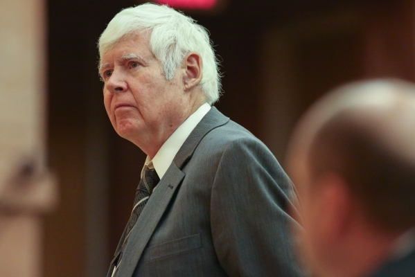 Ombudsman Terry Jackson asks Det. Ryan Jaeger questions at the public fact finding review of the shooting of John Allen which took place at the Clark County Government Center Commission Chambers o ...