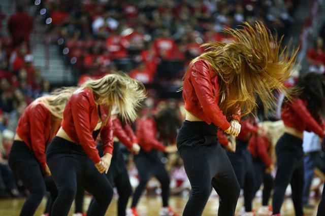 UNLV Rebel Girls perform during a basketball game at the Thomas & Mack Center in Las Vegas on Friday, Nov. 13, 2015. Chase Stevens/Las Vegas Review-Journal Follow @csstevensphoto