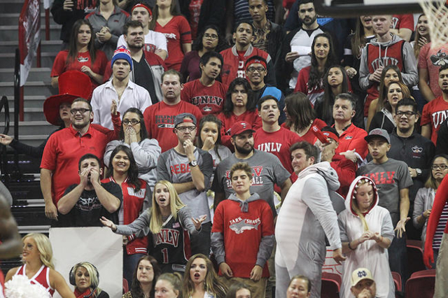 UNLV fans reactduring a basketball game between UNLV and Cal Poly at the Thomas & Mack Center in Las Vegas on Friday, Nov. 13, 2015. Chase Stevens/Las Vegas Review-Journal Follow @csstevensphoto