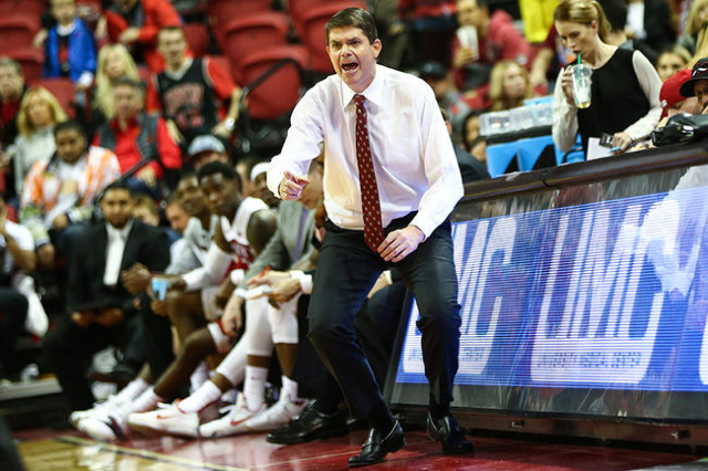 UNLV coach Dave Rice shouts to his team as they take on Cal Poly during a basketball game at the Thomas & Mack Center in Las Vegas on Friday, Nov. 13, 2015. Chase Stevens/Las Vegas Review-Jour ...