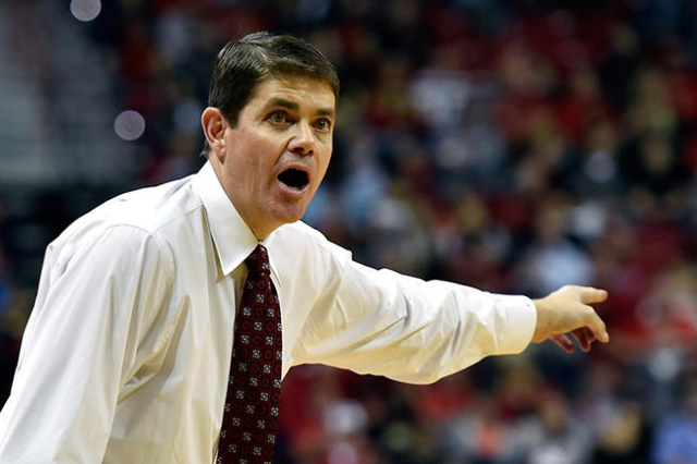 UNLV head coach Dave Rice calls from the bench during a NCAA basketball game against Cal Poly at the Thomas & Mack Center in Las Vegas Friday, Nov. 13, 2015. UNLV won 74-72. David Becker/Las V ...