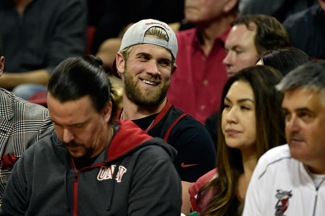Baseball player Bryce Harper watches the UNLV and Cal Poly NCAA basketball game at the Thomas & Mack Center in Las Vegas Friday, Nov. 13, 2015. UNLV won 74-72. David Becker/Las Vegas Review-Jo ...