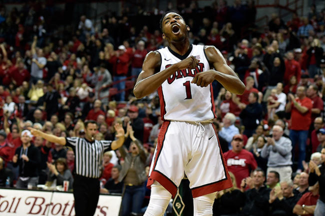 UNLV forward Derrick Jones Jr. (1)  reacts after a basket against Cal Poly during a NCAA basketball game at the Thomas & Mack Center in Las Vegas Friday, Nov. 13, 2015. UNLV won 74-72. David B ...