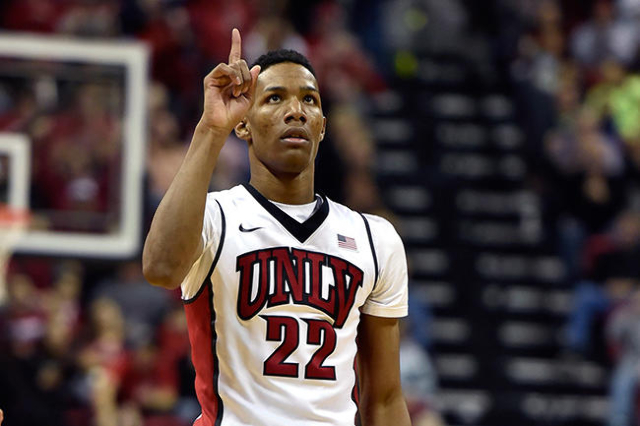 UNLV guard Patrick McCaw (22) reacts after scoring a three-point basket against Cal Poly during a NCAA basketball game at the Thomas & Mack Center in Las Vegas Friday, Nov. 13, 2015. UNLV won  ...