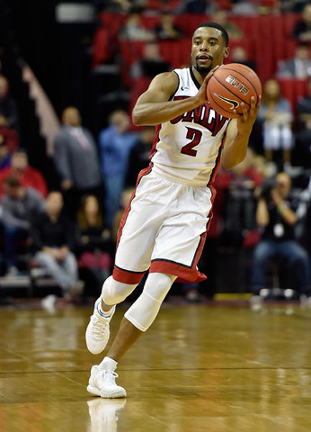 UNLV guard Jerome Seagears (2) bring the ball down court against Cal Poly during a NCAA basketball game at the Thomas & Mack Center in Las Vegas Friday, Nov. 13, 2015. UNLV won 74-72. David Be ...