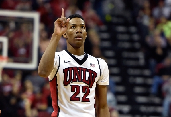 UNLV guard Patrick McCaw (22) reacts after scoring a 3-point basket against Cal Poly during a NCAA basketball game at the Thomas & Mack Center in Las Vegas Friday, Nov. 13, 2015. UNLV won, 74- ...