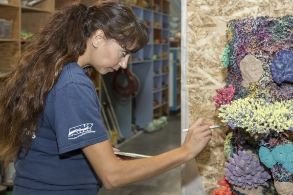 A staffer at Las Vegas-based Acrylic Tank Manufacturing paints artificial corals.  DAVID REISMAN/REAL ESTATE MILLIONS