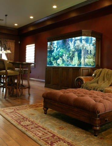 "Wayde King and Brett Raymer, hosts of Animal Planet's ""Tanked,"" built this aquarium for a luxury home.  COURTESY"