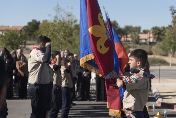 Boys Scouts of American Troop 351 conducts the flag presentation during the unveiling and dedication of the Armenian Genocide Memorial Monument in Sunset Park in Las Vegas Saturday, Nov. 14, 2015. ...