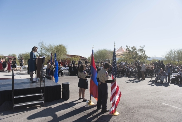Master of Ceremonies Lenna Hovanessian J.D., left, speaks during the unveiling and dedication of the Armenian Genocide Memorial Monument in Sunset Park in Las Vegas Saturday, Nov. 14, 2015. Jason  ...